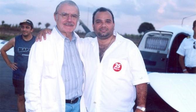Presidente do Senado, José Sarney, e o acusado da morte de Décio, Júnior Bolinha