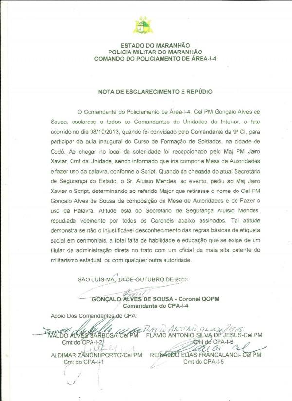 NOTA DE ESCLARECIMENTO E REPUDIO