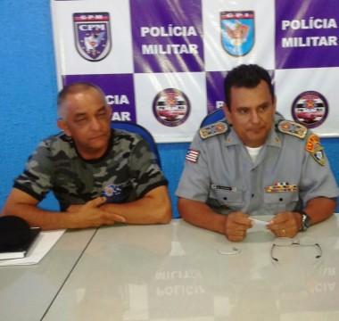 Coronel Ivaldo Barbosa (Comandante do CPE) e o coronel Zanoni (Comandante Geral da PM-MA)