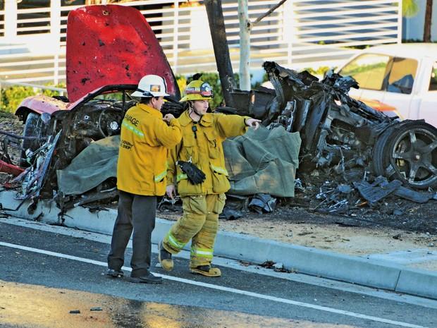 Porsche destruído em acidente neste sábado em Valencia