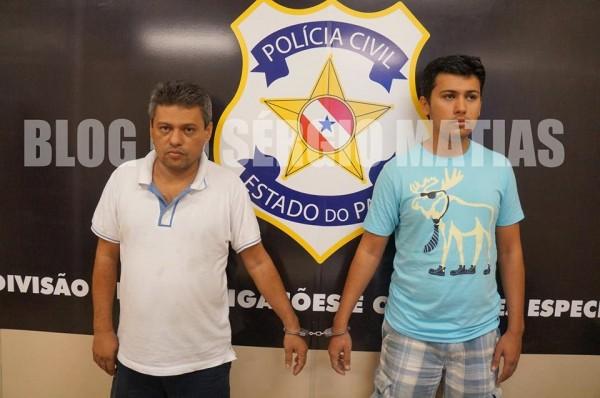 Eduardo Facunde e o filho, durante apresentação pela Polícia Civil do Pará