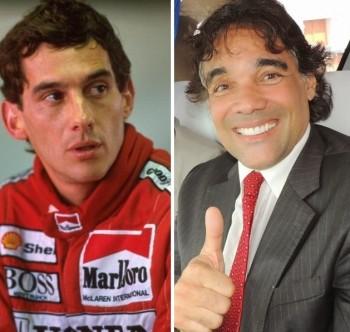 Piloto Ayrton Senna e o pré-candidato Edinho Lobão