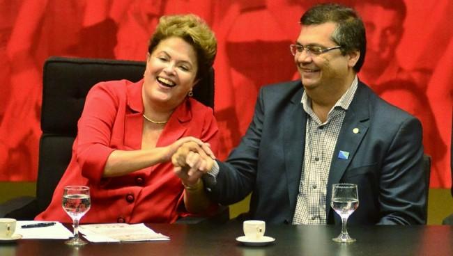 Dilma Roussef ao lado de Flávio Dino na Convencão Nacional do PCdoB
