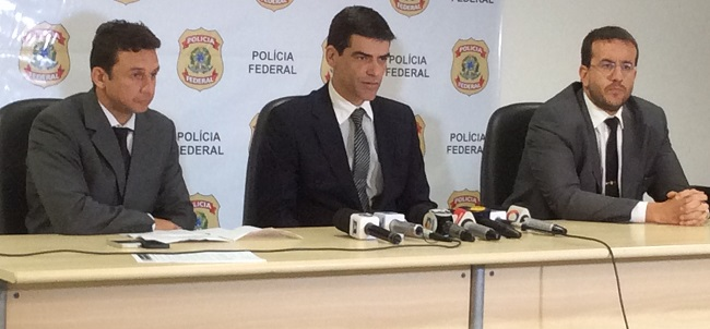 Delegados da Polícia Federal Sandro Rogério Jansen (Coordenador da Operação Catargo), Alexandre Silva Saraiva (Superintendente da PF-MA) e Fabrízio Garbi (Combate ao Crime Organizado)