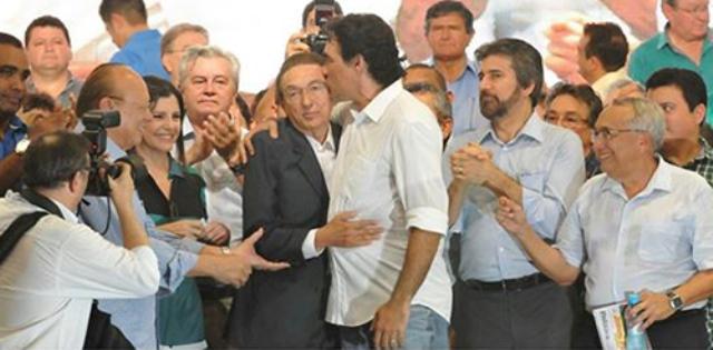 Lobão Filho e o pai, Edison Lobão, durante a Convenção do PMDB